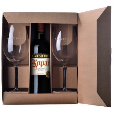 GERE díszdoboz 2-pohár 1-palackhoz (az ár a bort nem tartalmazza!)